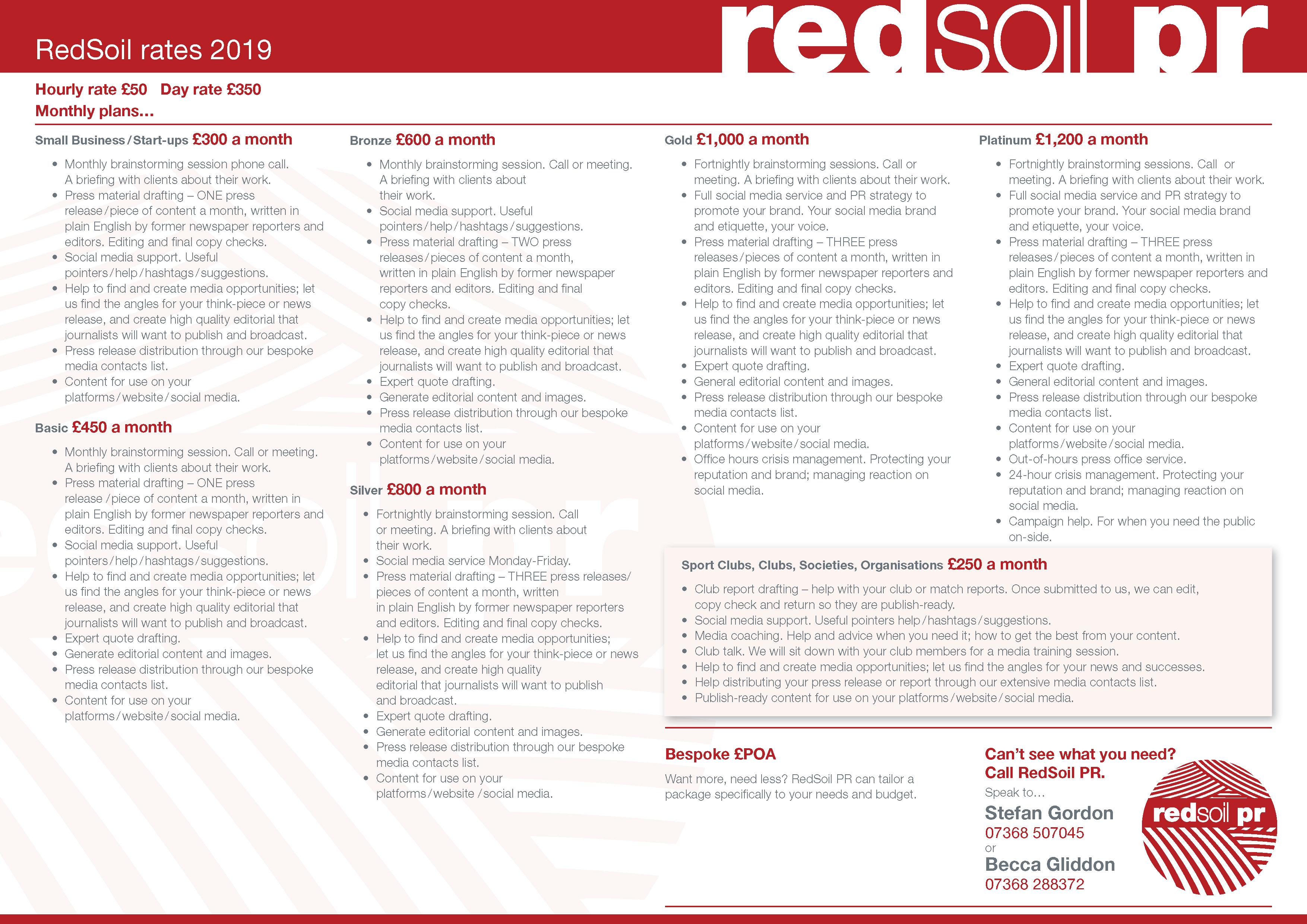 The RedSoil Rate Card
